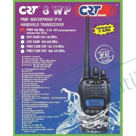 NOU 2015: Statie radio portabila PMR profesionala CRT 8WP PMR446 rezistenta la apa