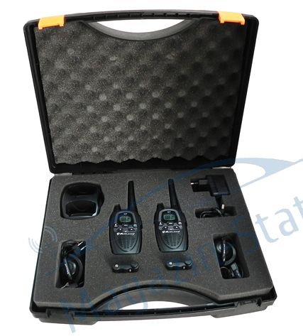 Statie radio PMR portabila Midland G7 XTR Valibox set cu 2 buc, include casti MA24