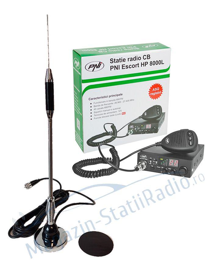 Set: Statie radio CB PNI Escort HP 8000L ASQ + Antena Megawat MW Short, 60cm