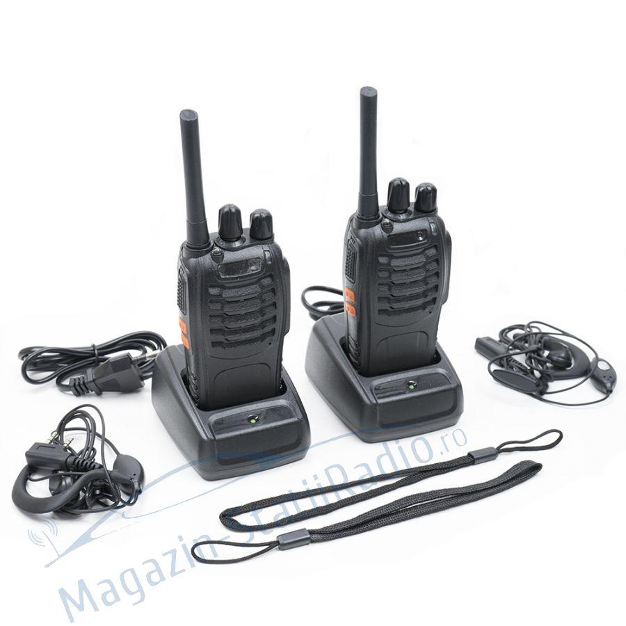 Statie radio UHF portabila PNI PMR R20 set cu 2bc acumulatori, incarcatoare si casti incluse
