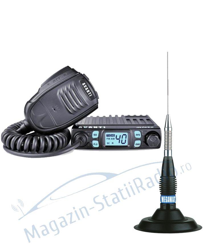 SET: Statie Radio CB Avanti Micro 4w + Antena MEGAWAT ML 147 mag
