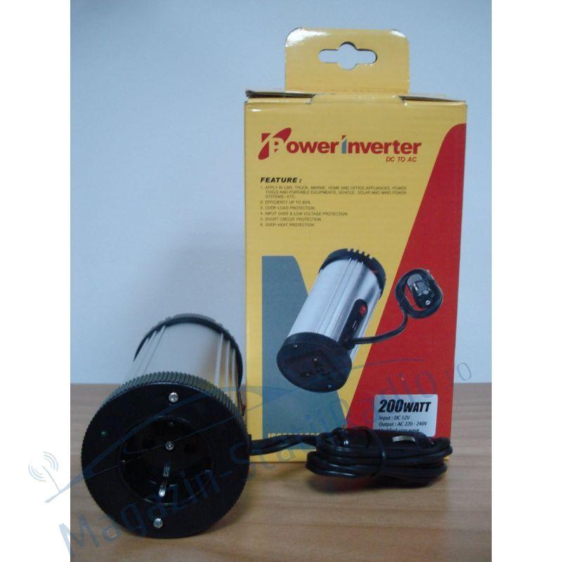 Invertor de tensiune 12-220V 200W cu port USB nextraCOM  8200Y