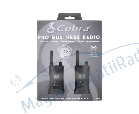Cobra PU 500 Set 2 statii walkie-talkie Raza pana la 8 km, Include casti ergonomice