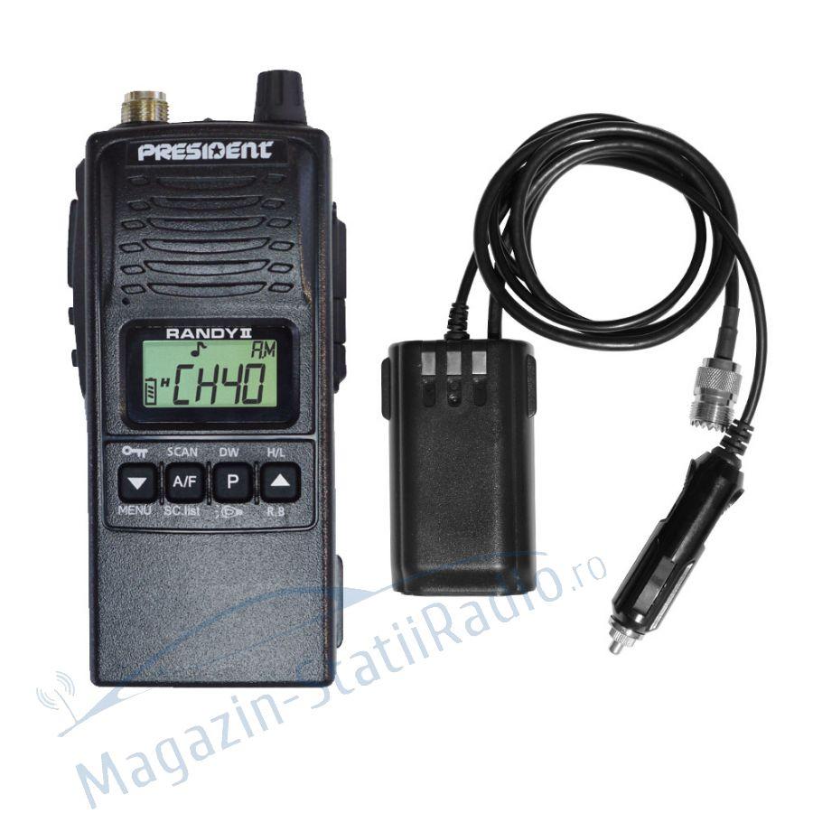 Statie Radio Portabila CB President Randy 2 M cu Adaptor conector de antenă CB și priza brichetă