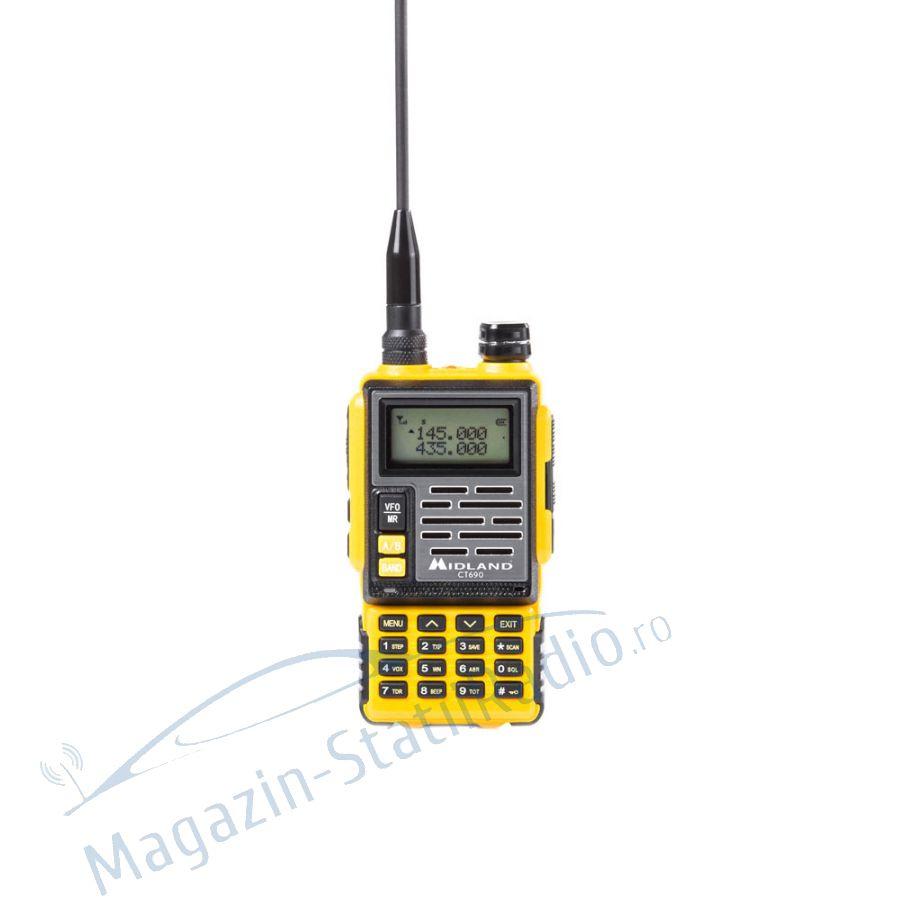 Statie radio VHF/UHF portabila Midland CT690 dual band 136-174 si 400-470 MHz culoare Galben