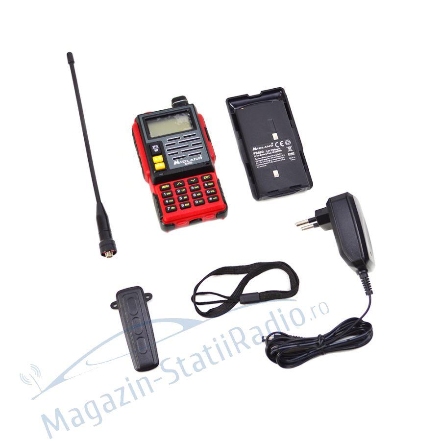 Statie radio VHF/UHF portabila Midland CT690 dual band 136-174 si 400-470 MHz culoare Rosu