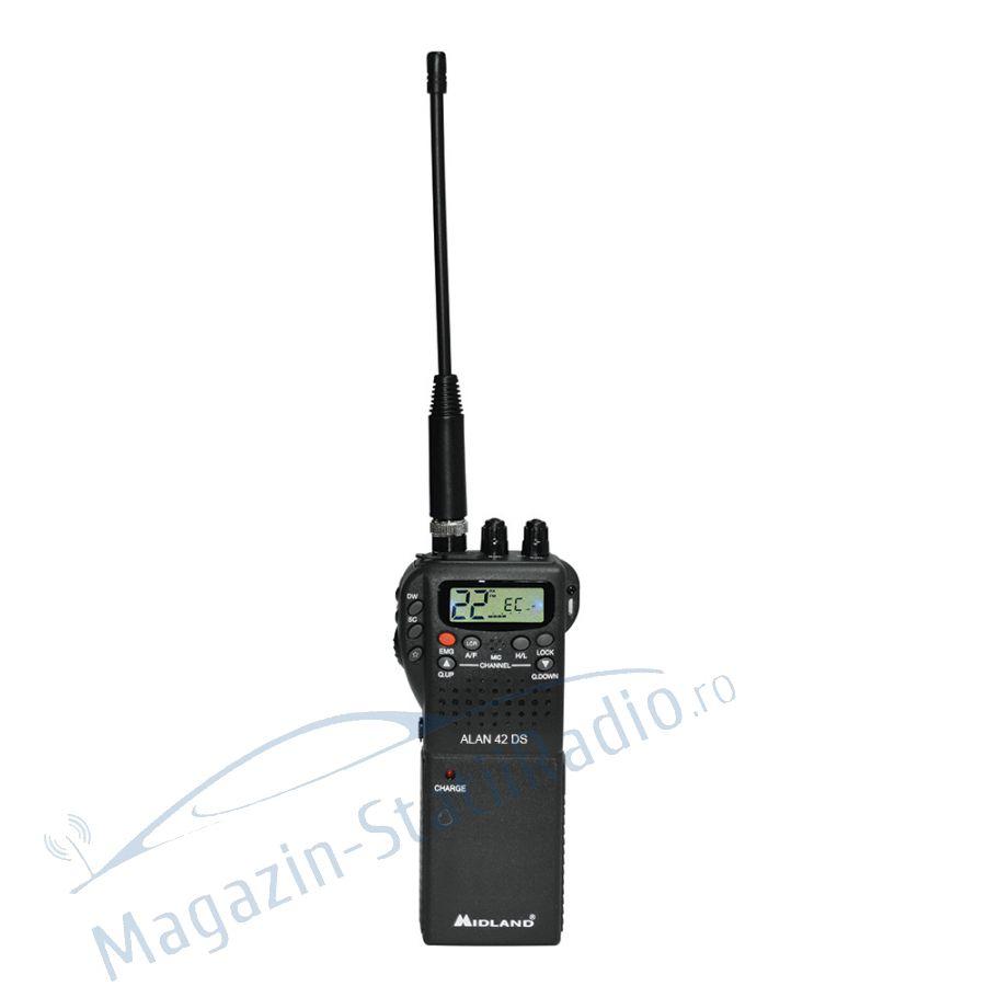 Statie radio CB portabila Midland Alan 42 DS cu squelch digital, model nou