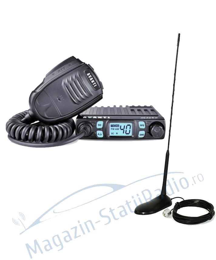 Set: Statie Radio CB Avanti Micro 4w putere + Antena CB PNI Extra 45