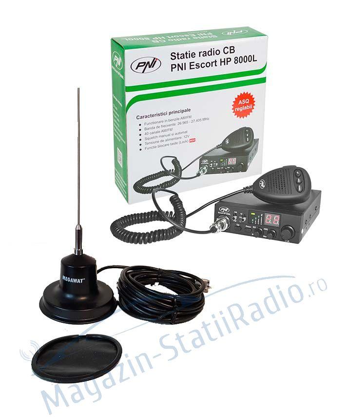 SET: Statie CB PNI Escort HP 8000L ASQ + Antena CB MEGAWAT CB 13