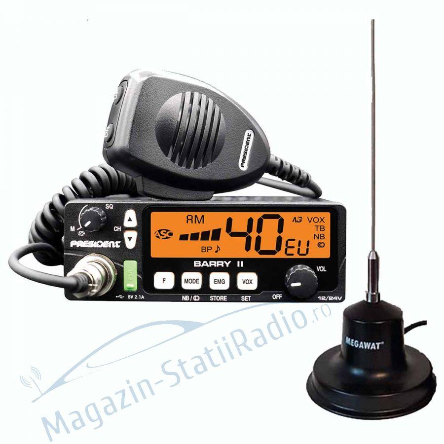 Statie Radio President BARRY II AM/FM, 12/24v + Antena MEGAWAT CB 13