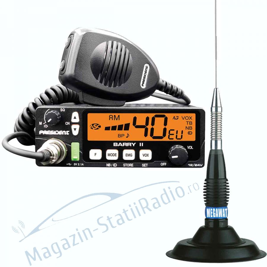 Statie Radio President BARRY II AM/FM, 12/24v ASC + Antena MEGAWAT ML147