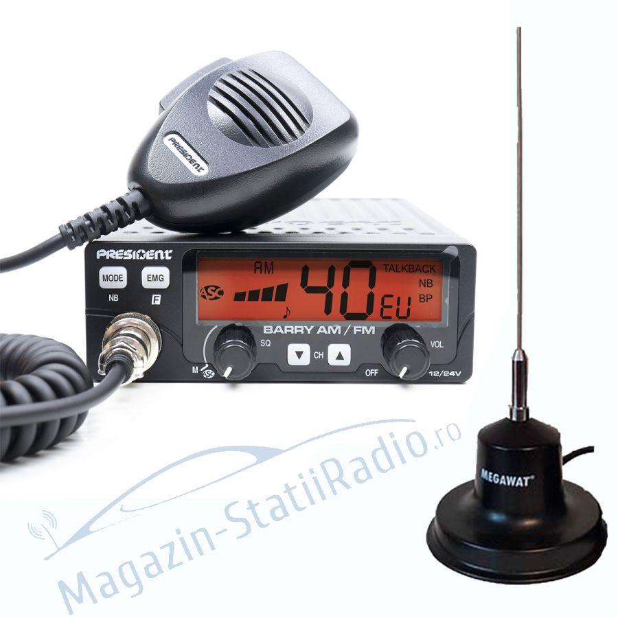 Statie Radio President BARRY AM/FM, 12/24v + Antena MEGAWAT CB 13