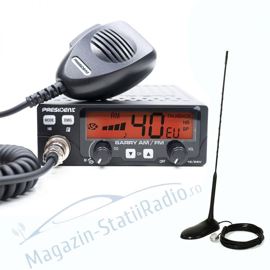 Statie Radio President Barry AM/FM ASC, 12/24v + Antena CB PNI Extra 45