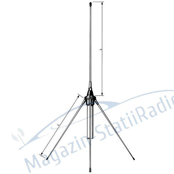 Antena VHF Midland de baza GP 160, 125cm pentru cladiri