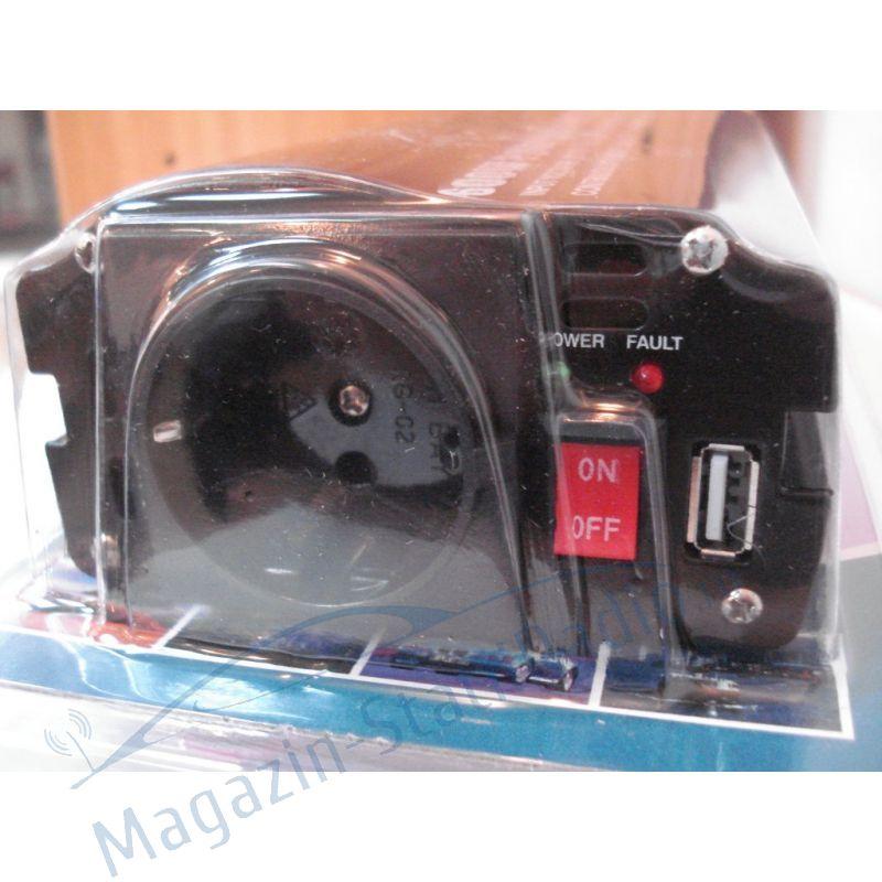 Invertor de tensiune 12-220V 600W cu port USB  nextraCOM  8600U