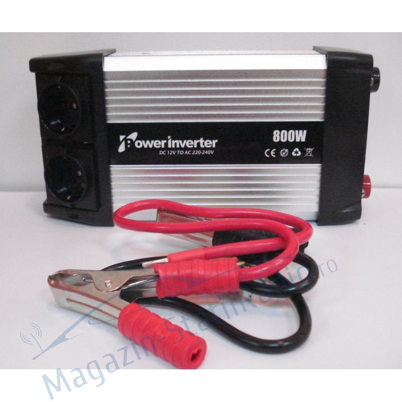 Invertor de tensiune 12-220V 800W cu port USB nextraCOM 8800N B