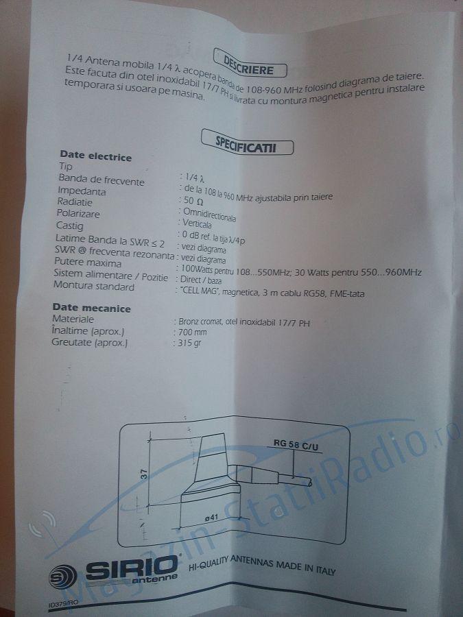 Antena mobila in banda VHF Sirio - SKB 108-960 cu montura fixa. Taxi/2M/Marine