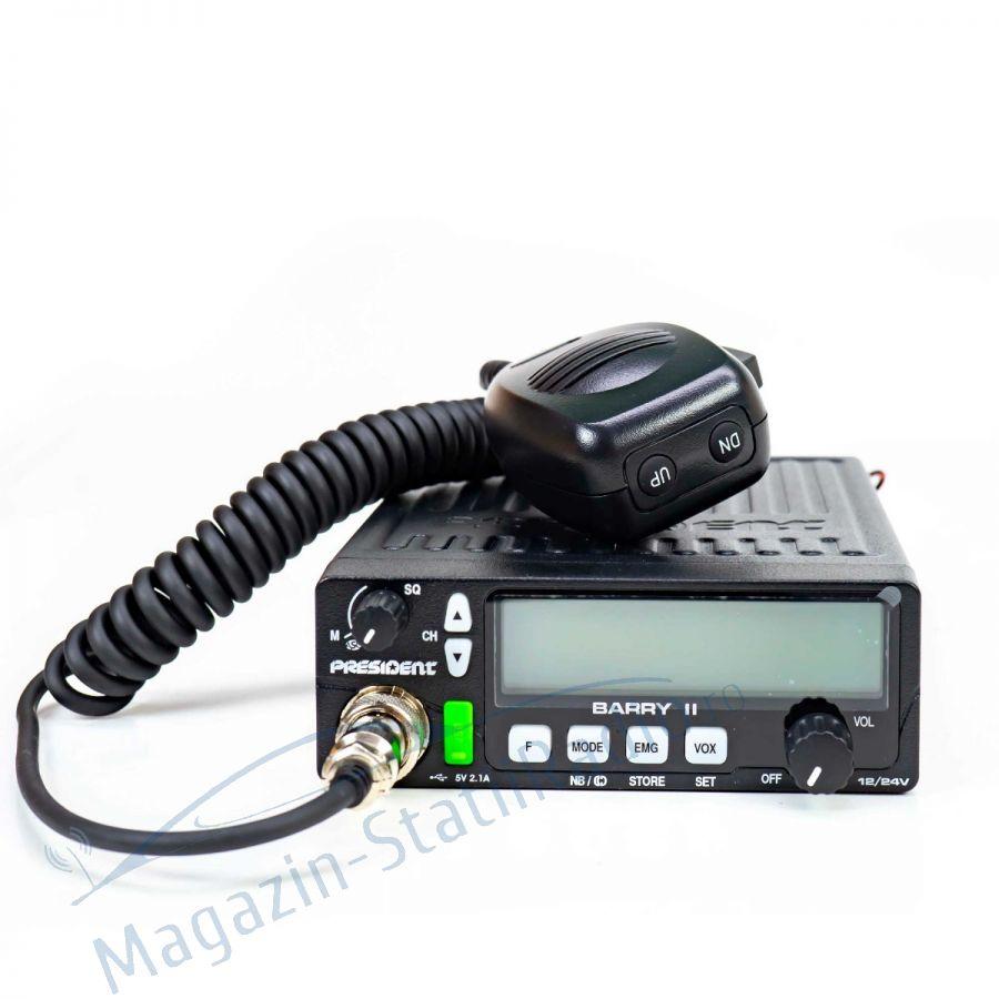 Statie radio CB President BARRY II ASC AM/FM, 12V/24V, Model 2020/2021