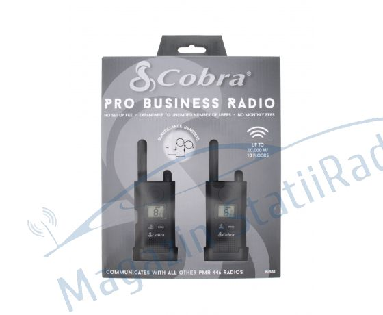 Cobra PU 500 Set 2 statii walkie-talkie Raza pana la 8 km, Include casti ergonomice