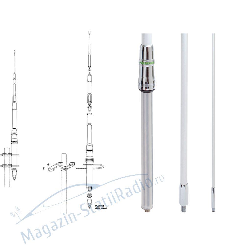 Antena Profesionala CB President Himalaya 22-30 MHz, 2000W, 527cm, pentru cladiri