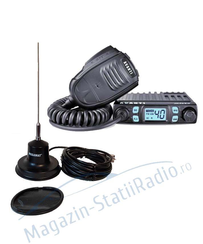 SET: Statie Radio CB Avanti Micro 4w + Antena Radio CB MEGAWAT  CB 13