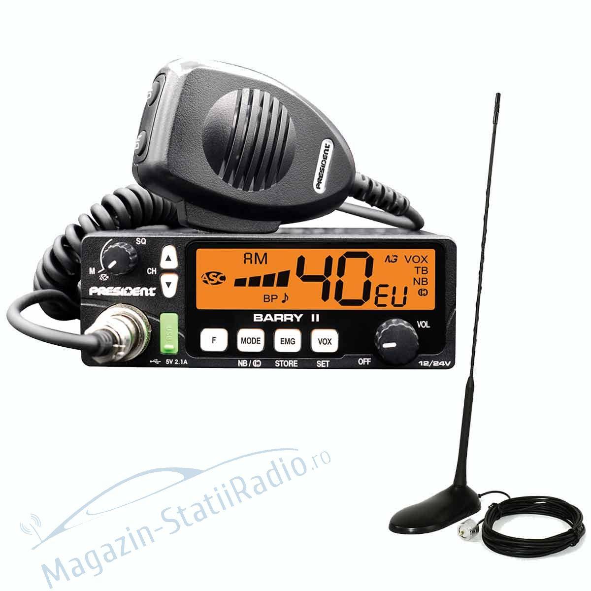 Statie Radio President Barry II AM/FM ASC, 12/24v + Antena CB PNI Extra 45