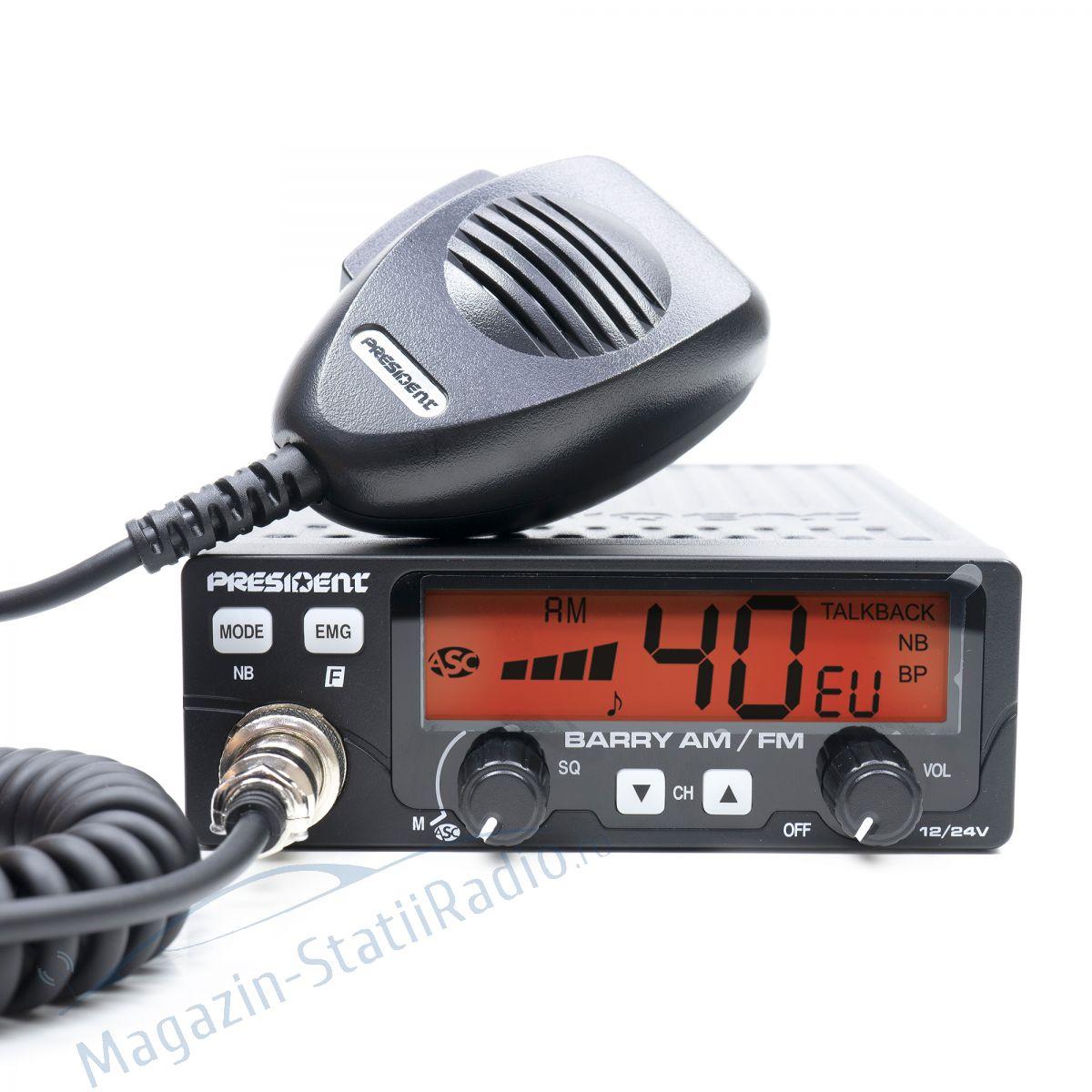 Statie Radio CB President BARRY AM/FM ASC, filtre Murata, 12/24v